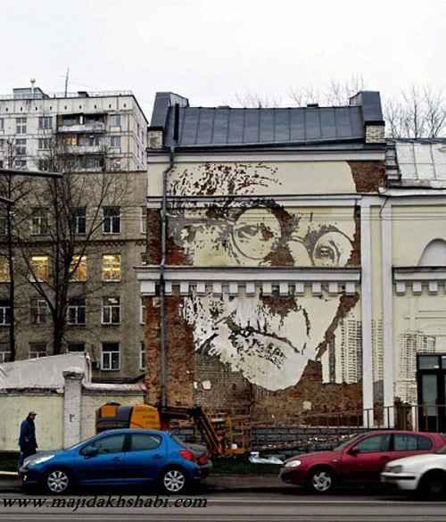 عکسهای شگفت انگیز از نقاشی با تراشیدن دیوار