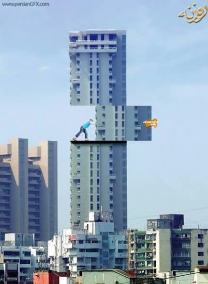 هنر عکاسی: تبليغات روي ساختمانهاي بلند